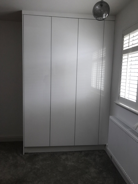 Bay Joinery - Swansea Joinery Service - Bedroom Wardrobes - Bespoke Gloss Finish Wardrobe 2