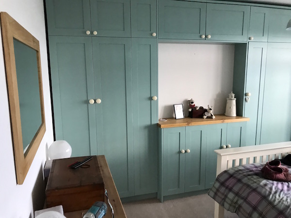 Bay Joinery - Swansea Joinery Service - Bedroom Wardrobes - Bespoke Turquoise Wardrobe 1