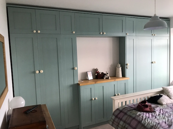 Bay Joinery - Swansea Joinery Service - Bedroom Wardrobes - Bespoke Turquoise Wardrobe 2