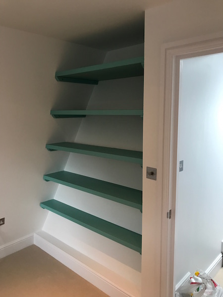 Bay Joinery - Swansea Joinery Service - Bedroom Wardrobes - Unique Shelving Storage Dark Green Wood 1
