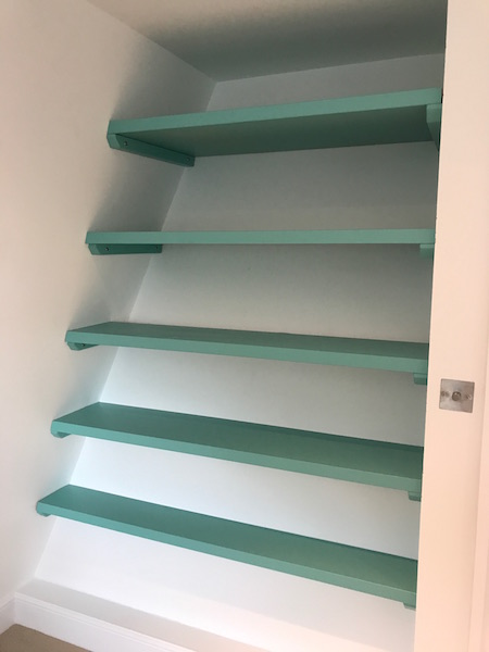 Bay Joinery - Swansea Joinery Service - Bedroom Wardrobes - Unique Shelving Storage Dark Green Wood 2