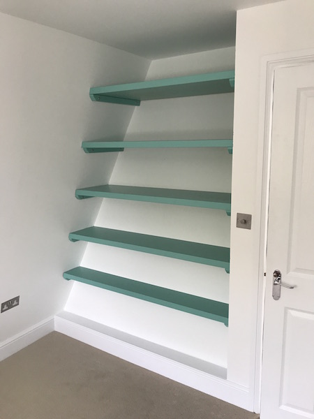 Bay Joinery - Swansea Joinery Service - Bedroom Wardrobes - Unique Shelving Storage Dark Green Wood 3