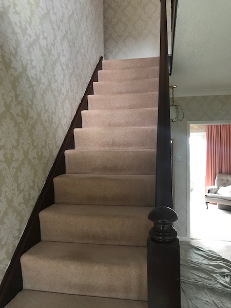Bay Joinery - Swansea Joinery Service - Stair Refurbishements - Dark Wood Finish Balustrading 2