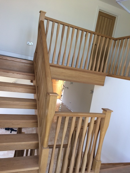 Bay Joinery - Swansea Joinery Service - Stairs - Light Wood 2 Flight Stairs & Balustrading 1