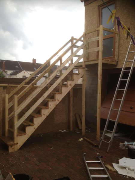 Bay Joinery - Swansea Joinery Service - Stairs - Light Wood Outdoor Stairs 1