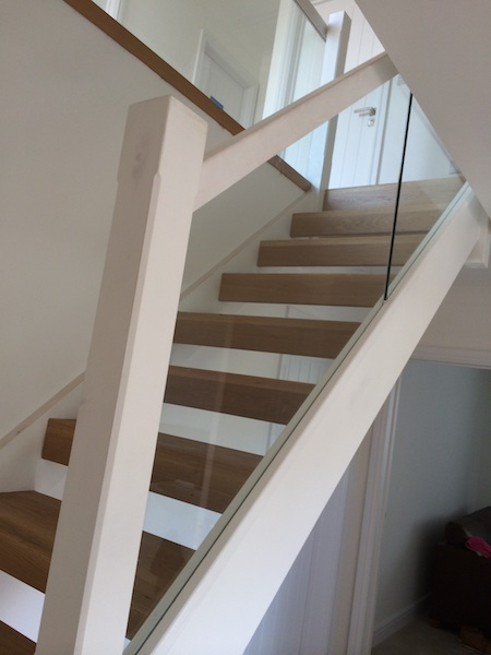Bay Joinery - Swansea Joinery Service - Stairs - White Wood & Glass Balustrading 1