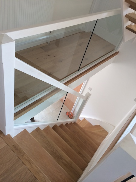 Bay Joinery - Swansea Joinery Service - Stairs - White Wood & Glass Balustrading 2