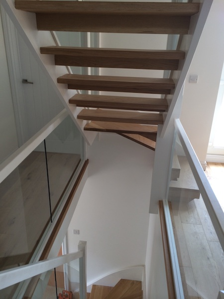 Bay Joinery - Swansea Joinery Service - Stairs - White Wood & Glass Balustrading 3
