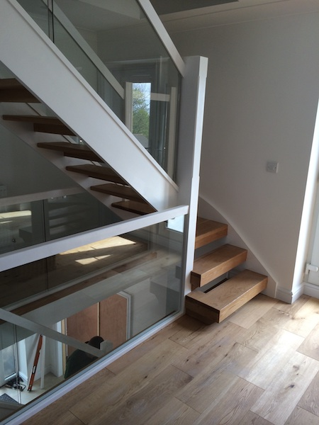 Bay Joinery - Swansea Joinery Service - Stairs - White Wood & Glass Balustrading 4