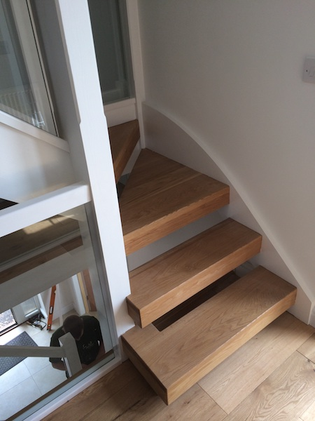 Bay Joinery - Swansea Joinery Service - Stairs - White Wood & Glass Balustrading 5