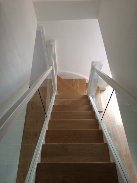 Bay Joinery - Swansea Joinery Service - Stairs - White Wood & Glass Balustrading 6