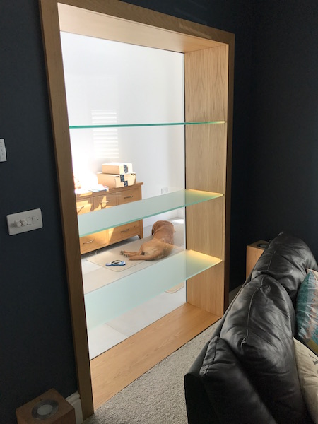 Bay Joinery - Swansea Joinery Service - Storage - Bespoke Glass Shelf Storage 1